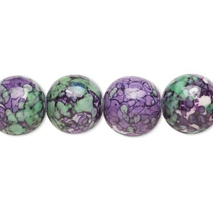 bead, resin and painted ceramic, purple / green / white, 12mm round. sold per 16-inch strand.