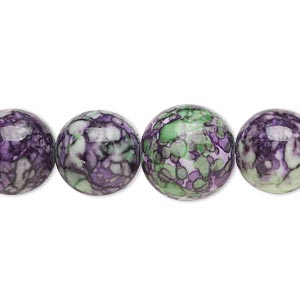 bead, resin and painted ceramic, purple / green / white, 6-14mm graduated round. sold per 16-inch strand.