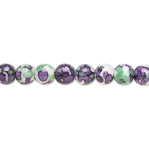 bead, resin and painted ceramic, purple / green / white, 6mm round. sold per 16-inch strand.