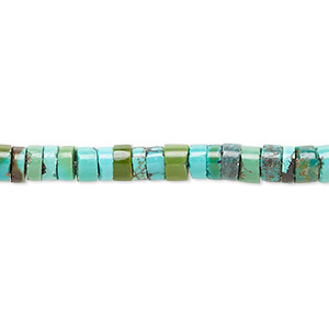 bead, resin and turquoise (assembled), blue, 5x3mm heishi, mohs hardness 5 to 6. sold per 16-inch strand.