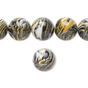 bead, resin, black / white / dark yellow, 12mm round. sold per 16-inch strand.
