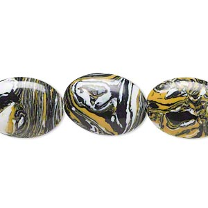 bead, resin, black / white / dark yellow, 18x13mm flat oval. sold per 16-inch strand.