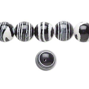 bead, resin, black and white, 10mm round. sold per 16-inch strand.