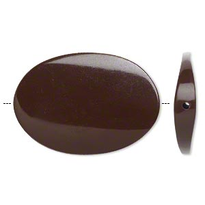 bead, resin, brown, 45x31mm twisted flat oval. sold per pkg of 2.