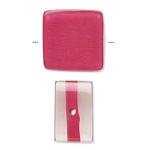 bead, resin, clear and fuchsia, 18x18mm square. sold per pkg of 6.