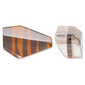 bead, resin, clear/orange/brown, 36x23mm irregular polygon with zebra stripes. sold per pkg of 2.