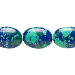 bead, resin, dark blue / green / turquoise blue, 18x13mm flat oval. sold per 16-inch strand.