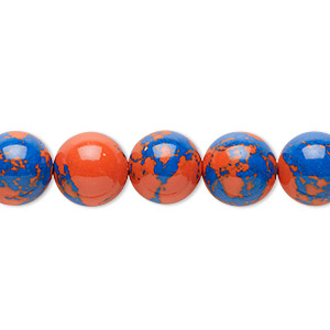 bead, resin, dark blue and orange, 10mm round. sold per 16-inch strand.
