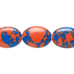 bead, resin, dark blue and orange, 18x13mm flat oval. sold per 16-inch strand.
