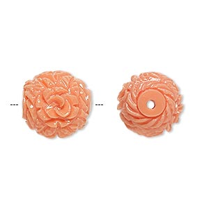 bead, resin, light salmon pink, 16x14mm oval with flower and leaf design, 2-2.3mm hole. sold per pkg of 4.