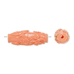 bead, resin, light salmon pink, 29x11mm oval with butterfly and flower design. sold per pkg of 2.