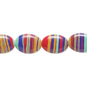 bead, resin, multicolored, 14x10mm flat oval with swirls. sold per 16-inch strand.