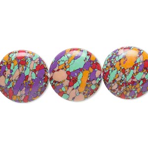 bead, resin, multicolored, 16mm flat round with mosaic design. sold per 16-inch strand.
