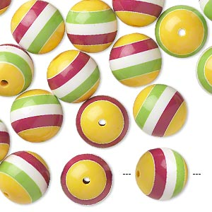 bead, resin, multicolored, 19-21mm striped round. sold per 1/4 pound, approximately 20 beads.