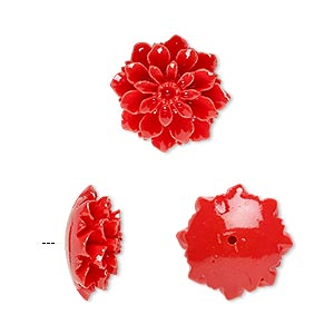 bead, resin, red, 15x15mm half-drilled flower. sold per pkg of 2.