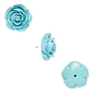 bead, resin, turquoise blue, 12x12mm half-drilled rose. sold per pkg of 4.