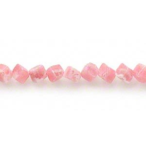bead, rhodochrosite (natural), 6mm diagonally drilled cube, c grade, mohs hardness 3-1/2 to 4-1/2. sold per 15-inch strand.