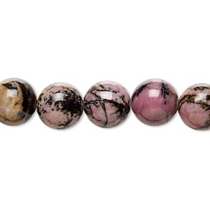 bead, rhodonite (natural), 10mm round, b grade, mohs hardness 5-1/2 to 6-1/2. sold per 16-inch strand.