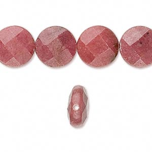 bead, rhodonite (natural), 12x6mm faceted flat round, b grade, mohs hardness 5-1/2 to 6-1/2. sold per 16-inch strand.