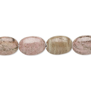 bead, rhodonite (natural), 14x10mm puffed oval, d grade, mohs hardness 5-1/2 to 6-1/2. sold per 16-inch strand.