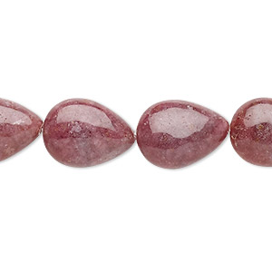 bead, rhodonite (natural), 16x12mm puffed teardrop, c grade, mohs hardness 5-1/2 to 6-1/2. sold per 16-inch strand.