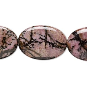 bead, rhodonite (natural), 25x18mm flat oval, b grade, mohs hardness 5-1/2 to 6-1/2. sold per 16-inch strand.