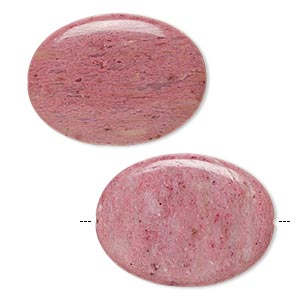 bead, rhodonite (natural), dark, 40x30mm flat oval, b grade, mohs hardness 5-1/2 to 6-1/2. sold per pkg of 2.