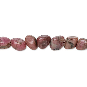 bead, rhodonite (natural), small chip and small to large pebble, mohs hardness 5-1/2 to 6-1/2. sold per 15-inch strand.
