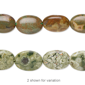 bead, rhyolite (natural), 14x10mm flat oval, b grade, mohs hardness 6 to 6-1/2. sold per 16-inch strand.