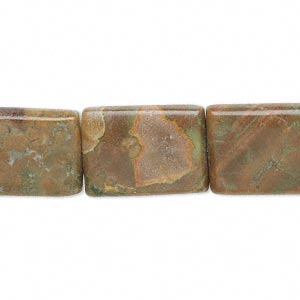 bead, rhyolite (natural), 18x13mm flat rectangle, b+ grade, mohs hardness 6 to 6-1/2. sold per 16-inch strand.