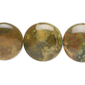 bead, rhyolite (natural), 20mm flat round, b grade, mohs hardness 6 to 6-1/2. sold per 16-inch strand.