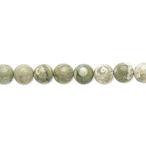 bead, rhyolite (natural), 6mm round, b grade, mohs hardness 6 to 6-1/2. sold per 16-inch strand.