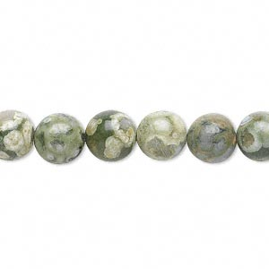 bead, rhyolite (natural), 8mm round, b grade, mohs hardness 6 to 6-1/2. sold per 16-inch strand.