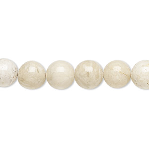 bead, riverstone (coated), 8mm round, b grade, mohs hardness 3-1/2. sold per pkg of (2) 16-inch strands.