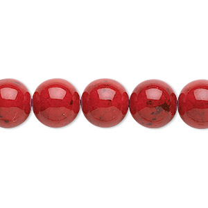 bead, riverstone (dyed), beet red, 10mm round, b grade, mohs hardness 3-1/2. sold per 16-inch strand.