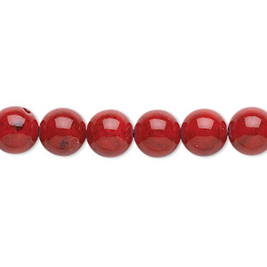 bead, riverstone (dyed), beet red, 8mm round, b grade, mohs hardness 3-1/2. sold per pkg of (2) 16-inch strands.