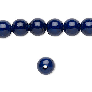 bead, riverstone (dyed), dark blue, 8mm round with 2mm hole, b grade, mohs hardness 3-1/2. sold per pkg of 10.