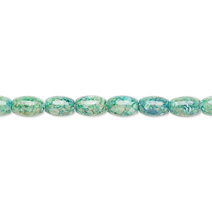 bead, riverstone (dyed), green, 6x4mm oval, b grade, mohs hardness 3-1/2. sold per 16-inch strand.