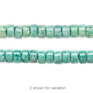 bead, riverstone (dyed), green, 6x4mm rondelle, b grade, mohs hardness 3-1/2. sold per 16-inch strand.