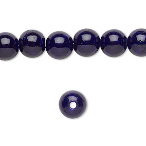 bead, riverstone (dyed), purple, 8mm round with 2mm hole, b grade, mohs hardness 3-1/2. sold per pkg of 10.
