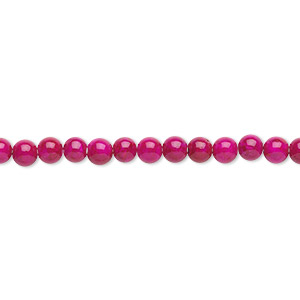 bead, riverstone (dyed), rose, 4mm round, b grade, mohs hardness 3-1/2. sold per pkg of (2) 16-inch strands.