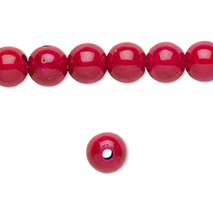 bead, riverstone (dyed), rose, 8mm round with 2mm hole, b grade, mohs hardness 3-1/2. sold per pkg of 10.