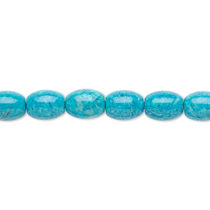 bead, riverstone (dyed), turquoise blue, 8x6mm oval, b grade, mohs hardness 3-1/2. sold per 16-inch strand.