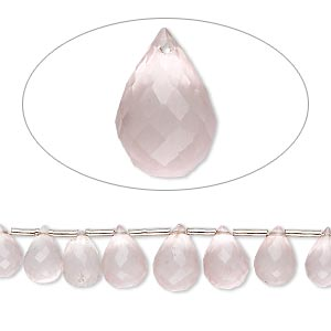 bead, rose quartz (natural), 5x4mm-10x6mm hand-cut top-drilled faceted briolette, b grade, mohs hardness 7. sold per 4-inch strand, approximately 15 beads.