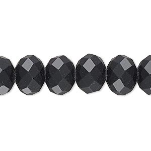bead, rubber-coated glass, matte black, 12x10mm faceted rondelle. sold per 8-inch strand, approximately 20 beads.
