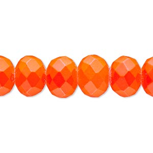 bead, rubber-coated glass, matte neon orange, 12x10mm faceted rondelle. sold per 8-inch strand, approximately 20 beads.