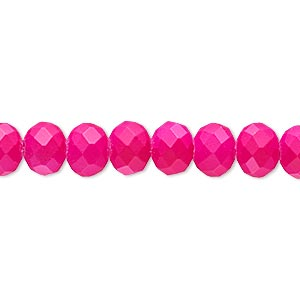 bead, rubber-coated glass, matte neon pink, 8x6mm faceted rondelle. sold per 8-inch strand, approximately 30 beads.