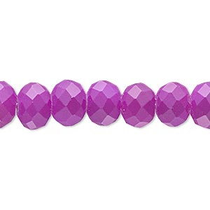 bead, rubber-coated glass, matte neon purple, 10x8mm faceted rondelle. sold per 8-inch strand, approximately 25 beads.