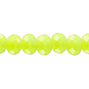 bead, rubber-coated glass, matte neon yellow, 10x8mm faceted rondelle. sold per 8-inch strand, approximately 25 beads.