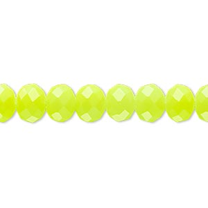 bead, rubber-coated glass, matte neon yellow, 8x6mm faceted rondelle. sold per 8-inch strand, approximately 30 beads.